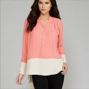 Gianni Bini Danny top blouse NWT coral beige S